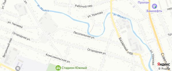 Лесопильная улица на карте железнодорожной станции Хребта с номерами домов