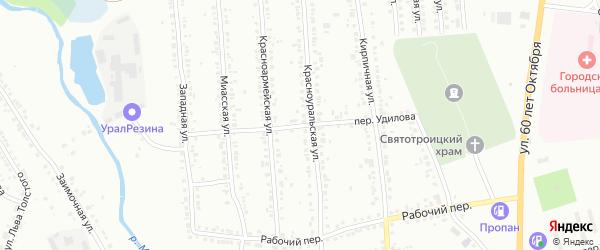 Переулок Удилова на карте Миасса с номерами домов
