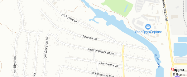 Речная улица на карте Миасса с номерами домов