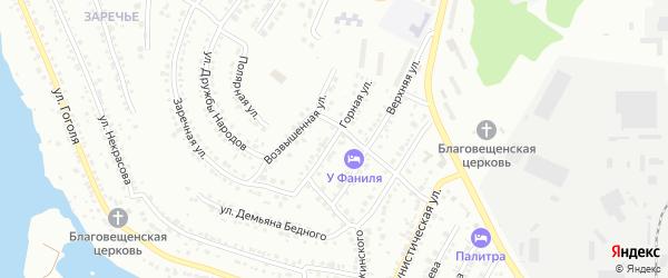 Горная улица на карте Миасса с номерами домов