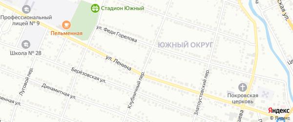 Клубничный переулок на карте Миасса с номерами домов