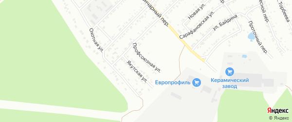 Профсоюзная улица на карте железнодорожной станции Хребта с номерами домов