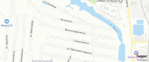 Волгоградская улица на карте Миасса с номерами домов