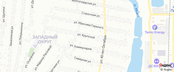 Улица Крупской на карте Миасса с номерами домов