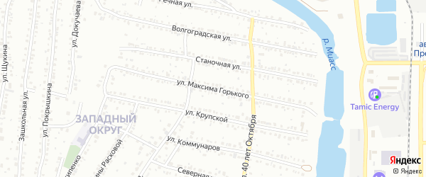 Улица Максима Горького на карте Миасса с номерами домов