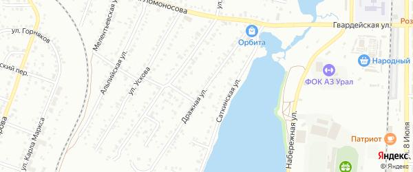 Дражная улица на карте Миасса с номерами домов