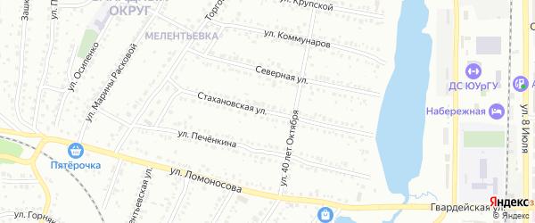 Стахановская улица на карте Миасса с номерами домов