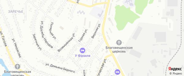 Верхняя улица на карте поселка Нового Хребта с номерами домов