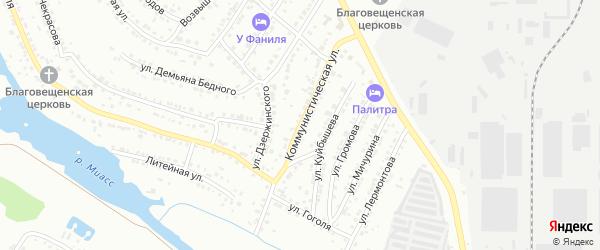 Коммунистическая улица на карте Миасса с номерами домов