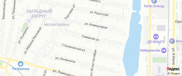 Северная улица на карте железнодорожной станции Тургояка с номерами домов