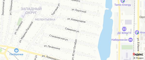Северная улица на карте села Новоандреевки с номерами домов
