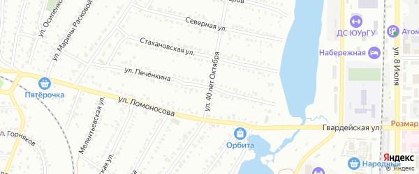 Улица 40 лет Октября на карте Миасса с номерами домов