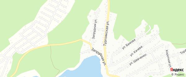 Запрудная улица на карте Миасса с номерами домов