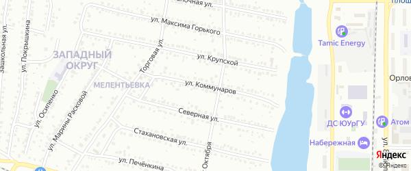 Улица Коммунаров на карте Миасса с номерами домов