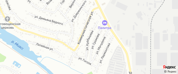 Улица Куйбышева на карте Миасса с номерами домов
