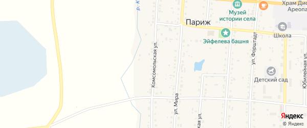 Комсомольская улица на карте Южного поселка с номерами домов