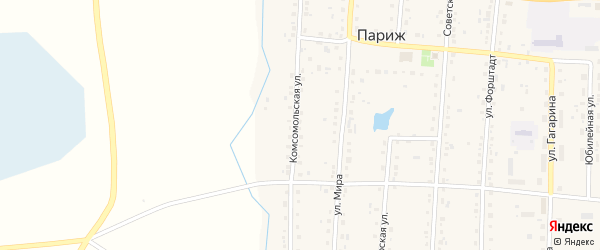 Комсомольская улица на карте села Парижа с номерами домов