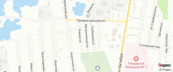 Механическая улица на карте Миасса с номерами домов