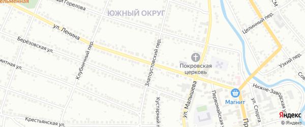 Златоустовский переулок на карте Миасса с номерами домов