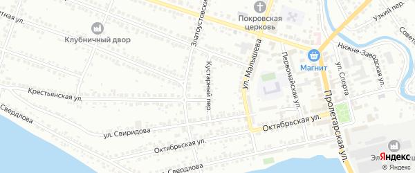 Кустарный переулок на карте Миасса с номерами домов