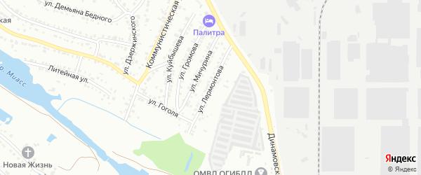 Улица Лермонтова на карте Миасса с номерами домов