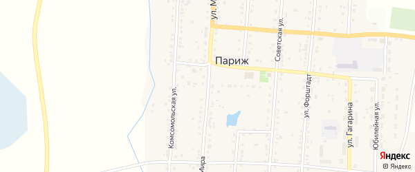Улица Мира на карте села Парижа с номерами домов