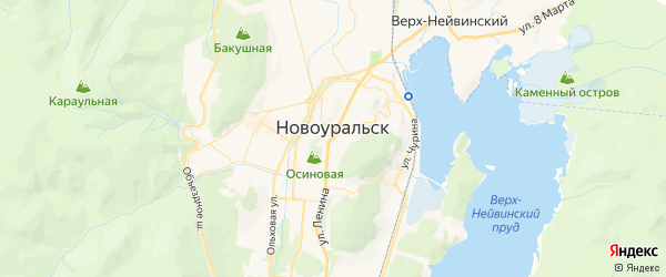 Карта Новоуральска с районами, улицами и номерами домов
