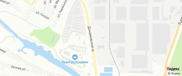 Динамовское шоссе на карте Миасса с номерами домов