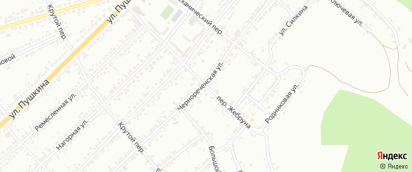 Переулок Жебруна на карте Миасса с номерами домов