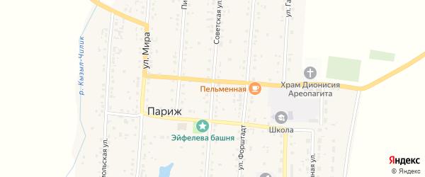 Советская улица на карте села Парижа с номерами домов