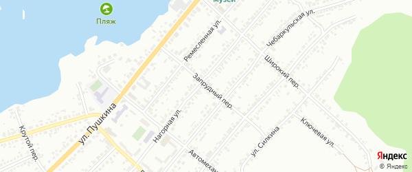 Запрудный переулок на карте Миасса с номерами домов
