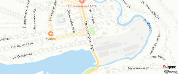 Пролетарская улица на карте Миасса с номерами домов