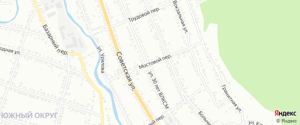 Мостовой переулок на карте Миасса с номерами домов