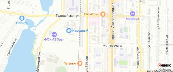 Улица 8 Июля на карте Миасса с номерами домов