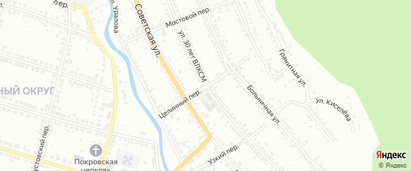 Целинный переулок на карте Миасса с номерами домов