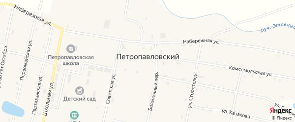 Больничный переулок на карте Петропавловского поселка с номерами домов