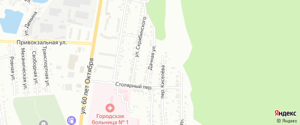Дачная улица на карте поселка Тургояка с номерами домов