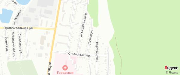 Дачная улица на карте поселка Нового Хребта с номерами домов