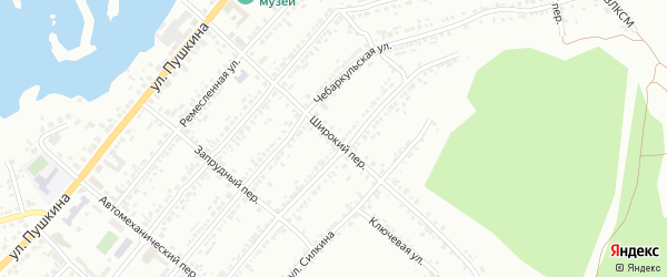Широкий переулок на карте Миасса с номерами домов