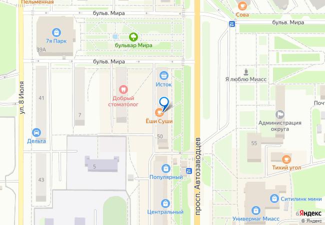 7666c51a536b проспект Автозаводцев, 50 на карте-панораме Миасса, организации ...