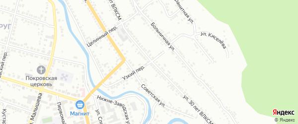 Узкий переулок на карте Миасса с номерами домов