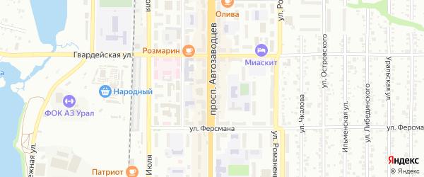 Проспект Автозаводцев на карте Миасса с номерами домов