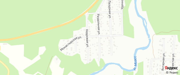 Территория ГСК 2 Лесной на карте Миасса с номерами домов