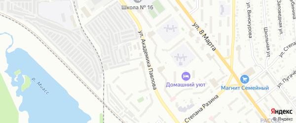 Улица Академика Павлова на карте Миасса с номерами домов