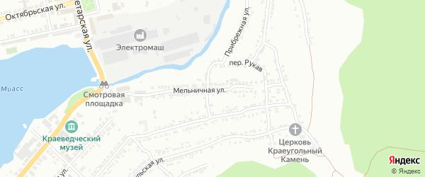 Мельничная улица на карте Миасса с номерами домов