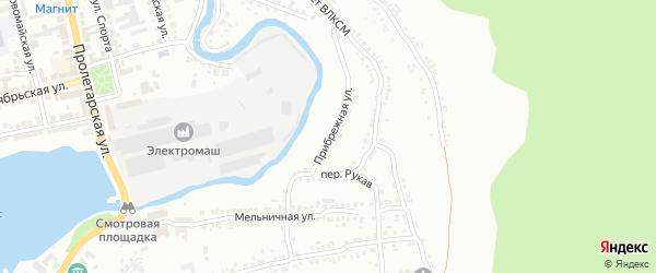 Прибрежная улица на карте Миасса с номерами домов