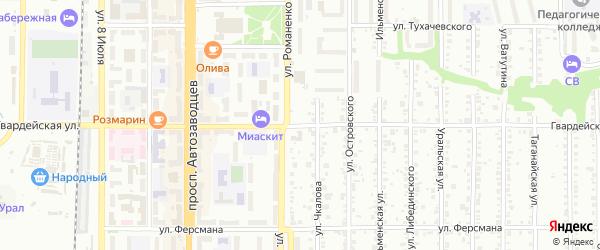Гвардейская улица на карте Миасса с номерами домов