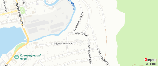 Переулок Рукав на карте Миасса с номерами домов