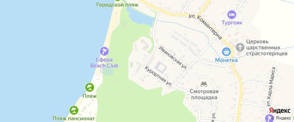 Школьный переулок на карте поселка Тургояка с номерами домов