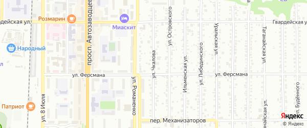 Улица Чкалова на карте Миасса с номерами домов